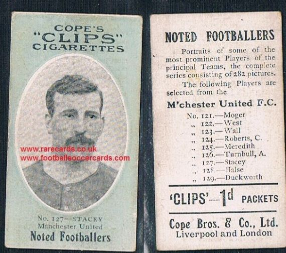 1909 Cope's Clips 2nd series Noted Footballers, 282 back, 127 Stacey Man Utd